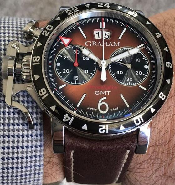 Shopping GRAHAM LONDON Chronofighter Vintage GMT Brown 2CVBC.C01A NEW replica watch