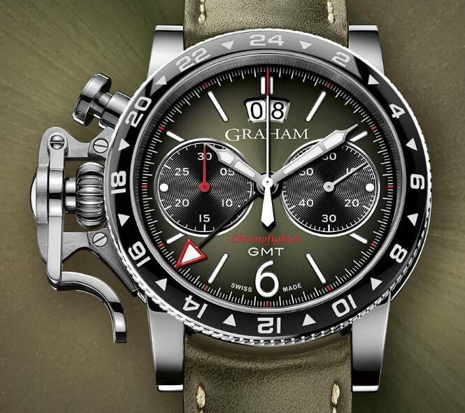 Shopping GRAHAM LONDON Chronofighter Vintage GMT Green 2CVBC.G01A NEW replica watch