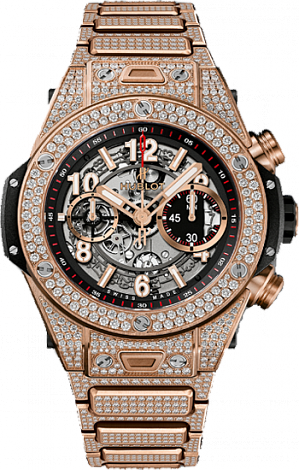 Shop Hublot Big Bang King Unico Gold Pave Bracelet Copy watch 411.OX.1180.OX.3704