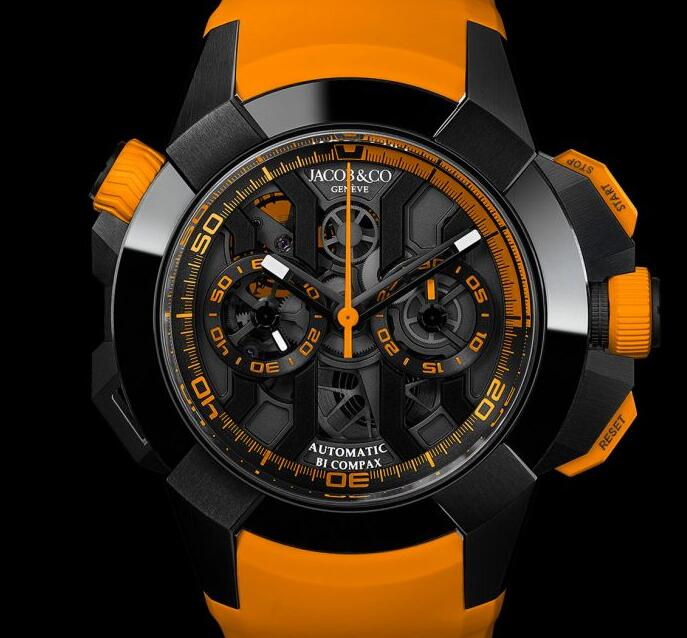 Best Jacob & Co EPIC X CHRONO BLACK TITANIUM ORANGE BAND EC311.21.SB.BG.C Replica watch