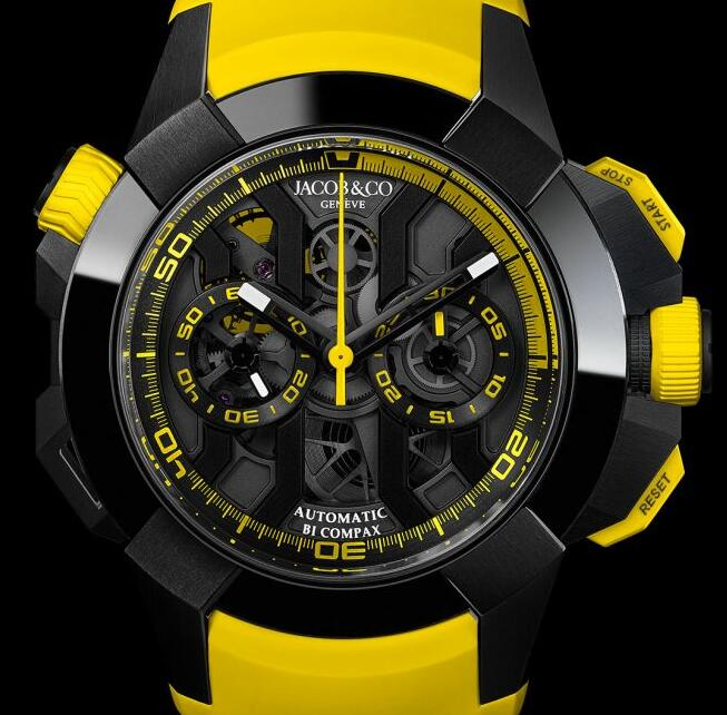 Best Jacob & Co EPIC X CHRONO BLACK TITANIUM YELLOW BAND EC313.21.SB.BV.D Replica watch