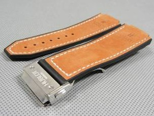 Hublot watch accessories brown leather belt strap Clasp Set Silver Clasp